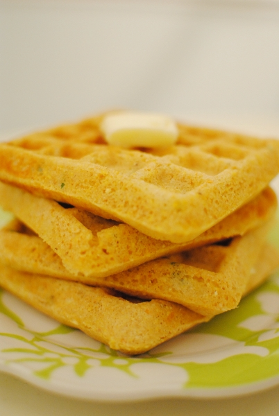 Savory White Cheddar & Chive Cornmeal Waffles | Baking ...