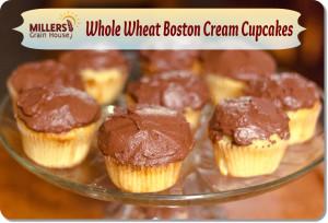 Whole Wheat Boston Cream Cupcakes