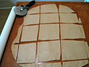 matzah dough cut